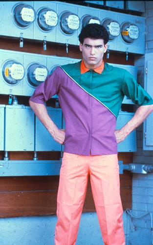 Morris Henderson, model, in a Todd Oldham original - Dallas, TX  (c. 1982)